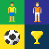 Abstract voetbalpictogram Pixelconcept Stock Afbeeldingen