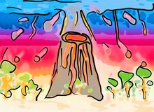 Abstract volcano eruption in watercolor style illustration. Abstract colorful volcano eruption in watercolor style illustration Royalty Free Stock Photos