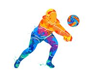 Abstract volleyball player. Jumping from a splash of watercolors. Vector illustration of paints royalty free illustration