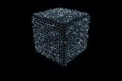Abstract Vormelement in Wireframe-Hologramstijl Het 3D Teruggeven van Nice Stock Foto