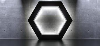Abstract Vormen Hexagon Binnenland met Zacht Licht Royalty-vrije Stock Foto's
