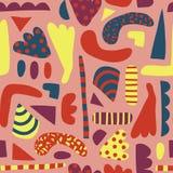 Abstract vormen naadloos vectorpatroon voor meisjes Eenvoudige elementen roze, gele, blauwe Skandinavische stijl als achtergrond royalty-vrije illustratie