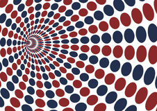 Abstract vortex with red and blue ellipse dot pattern on white b Royalty Free Stock Photo