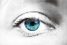 Abstract vrouwen blauw die oog van punten wordt gemaakt. Vector Stock Foto's