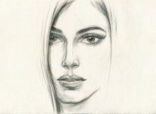 Abstract vrouwenportret De achtergrond van de manier Royalty-vrije Stock Afbeeldingen