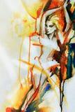 Abstract vrouwenportret De achtergrond van de manier Stock Afbeelding