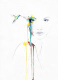 Abstract vrouwenportret De achtergrond van de manier Stock Foto