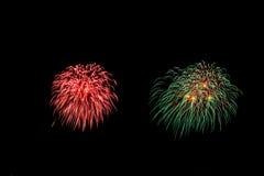 Abstract Vuurwerklicht omhoog de donkere hemel Stock Foto