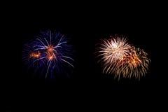 Abstract Vuurwerklicht omhoog de donkere hemel Royalty-vrije Stock Foto
