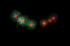 Abstract Vuurwerklicht omhoog de donkere hemel Stock Fotografie