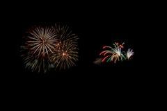 Abstract Vuurwerklicht omhoog de donkere hemel Royalty-vrije Stock Afbeeldingen