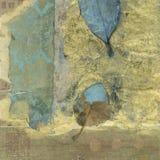 Abstract Wabi-sabi. Abstract mixed medium collage wabi-sabi weathered leaves Stock Image