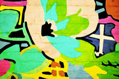 Abstract on a Wall. Abstract painting of a flower on a brick wall background stock illustration