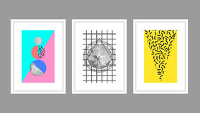 Abstract wall art poster set in memphis style with geometric shapes. Royalty Free Stock Photography