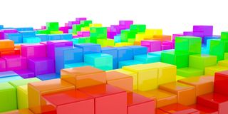 Abstract wall of colored cubes Stock Image