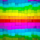Abstract wall of colored cubes. 3d render vector illustration