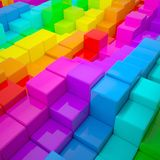 Abstract wall of colored cubes. 3d render stock illustration