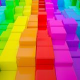 Abstract wall of colored cubes. 3d render royalty free illustration