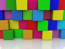 Abstract wall of colorful toy cubes royalty free stock photo