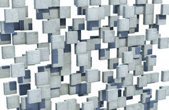 Abstract wall of concrete cubes. Floating concrete cubes forms an abstract perforated wall Royalty Free Stock Photos