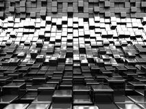 Abstract Wall Of Metallic Silver Cubes. 3d Render illustration vector illustration