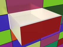 Abstract wall and opened box Royalty Free Stock Photos