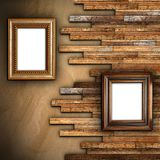 Abstract wall with two frames Royalty Free Stock Photo