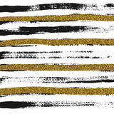 Abstract wallpaper with black and gold rough strokes. Abstract background with grunge black and gold lines, stylish vector background with golden glitter Royalty Free Stock Photography