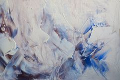 Abstract wallpaper of oil painting with brush strokes. In white and blue colors stock illustration