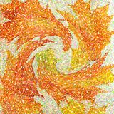 An abstract wallpaper pattern designed in warm autumn colors: bright orange, yellow, red and green colors Stock Photography