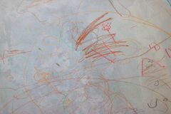 Abstract walls with colored crayons stock photography