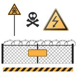 Abstract warning signs set Stock Photos