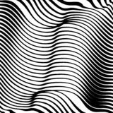 Abstract Warped Black and White Lines Background Stock Images