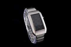 Abstract watch. In silver tone on black background stock photos