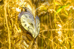 Abstract watch on fractal golden flower. Stock Images