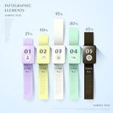 Abstract watch shape bar chart  infographics Stock Photos