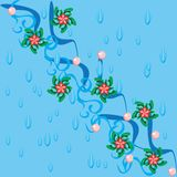 Abstract water background and branch with flowers Royalty Free Stock Photo