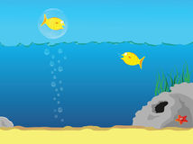 Abstract water background with fishes. And bubbles Stock Photos