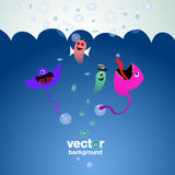 Abstract water background with monsters Stock Images