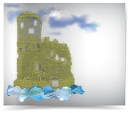 Abstract water castle with sun behind the clouds Royalty Free Stock Images