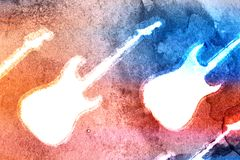 Abstract Water Color Guitar Background