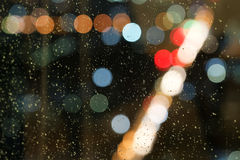 Abstract water drop background, blur and bokeh, raining Stock Images