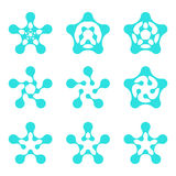 Abstract water pentagonal molecule  logo template Stock Photo