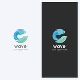 Abstract Water Wave Shape Logo Design Template. Corporate Business Theme. Cosmetics, Surf Sport Concept. Simple and Clean Style. Stock Photography
