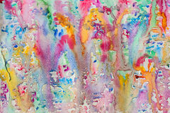 Abstract watercolor all colors of the rainbow background painting with spray, spots, splashes. Hand drawn on paper grain Stock Photos