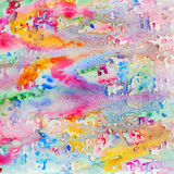 Abstract watercolor all colors of the rainbow background painting with spray, spots, splashes. Hand drawn on paper grain. Texture. Vivid tints for modern Royalty Free Stock Photography