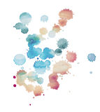 Abstract watercolor aquarelle hand drawn blot colorful paint splatter stain Royalty Free Stock Image