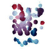 Abstract watercolor aquarelle hand drawn blot colorful paint splatter stain.  Royalty Free Stock Image