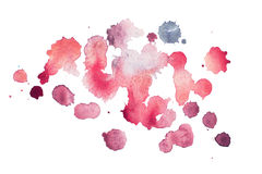 Abstract watercolor aquarelle hand drawn blot colorful red paint splatter stain. Stock Image