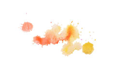 Abstract watercolor aquarelle hand drawn blot colorful yellow orange paint splatter stain.  royalty free stock photography